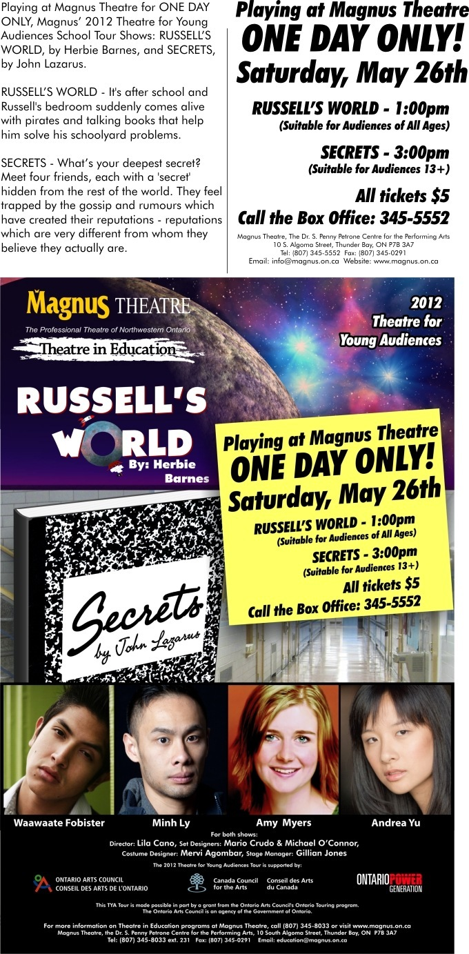 Magnus Theatre Presents: Russel's World & Secrets