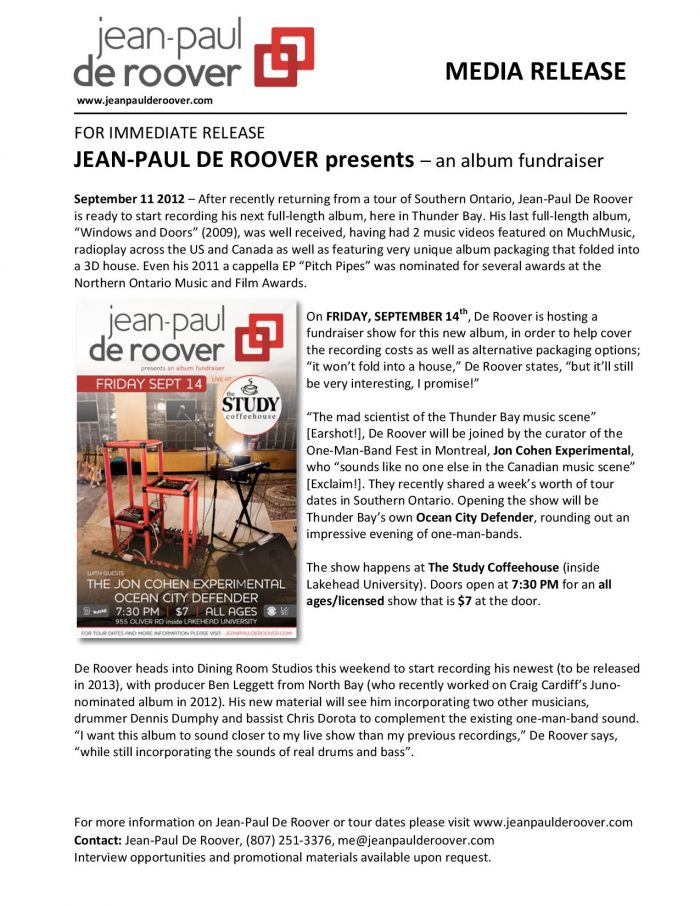 Jean-Paul De Roover – New Album Fundraiser