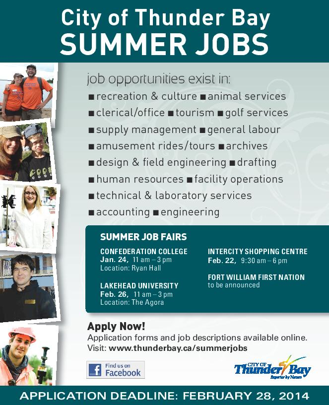 City of Thunder Bay Summer Jobs