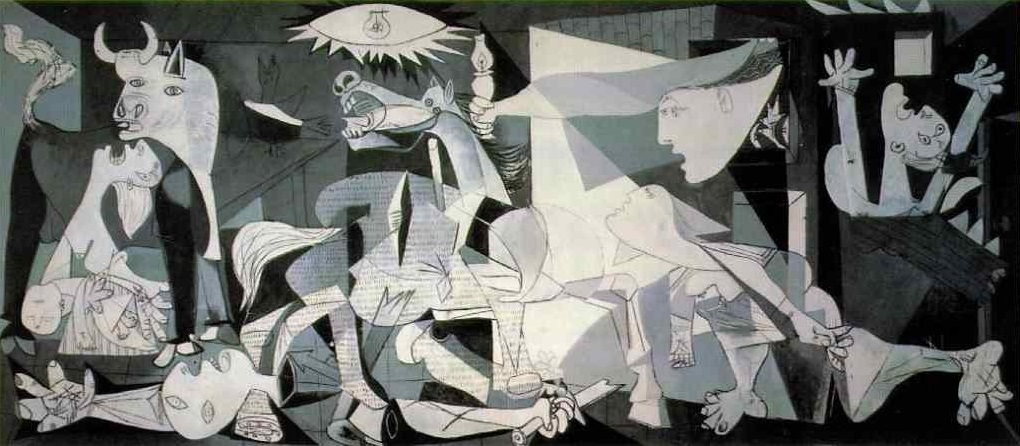 """Probably Picasso's most famous work, Guernica is certainly the his most powerful political statement, painted as an immediate reaction to the Nazi's devastating casual bombing practice on the Basque town of Guernica during Spanish Civil War."" Source: pablopicasso.org"