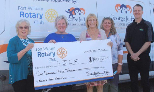 Fort William Rotary Club Donates $150,000 to George Jeffrey Children's Foundation